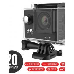 """Αδιάβροχη κάμερα δράσης 4K με 20 αξεσουάρ στήριξης Ultra HD / H.264 / 12MP / 2"""" LCD / Wi-Fi - OEM 22787"""