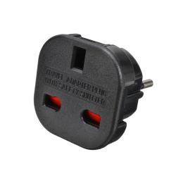 Adapter No brand BX-9625, UK to EU Schuko, 220V, High Quality, Black - 17701