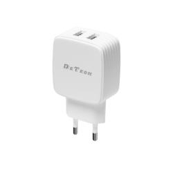 Φορτιστής δικτύου DeTech DE-33, 5V/2.4A, 220V, 2 x USB, λευκό - 40099