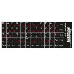 Αυτοκόλλητα Γράμματα Πληκτρολόγιου DeTech - Κυριλλικό και Λατινικό Αλφάβητο, Μαύρο - 17030