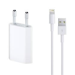Φορτιστής δικτύου, χωρίς μάρκα, 5V / 1A 220V, + Καλώδιο για iPhone 5/6/7, 1.0m, λευκό - 14853